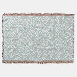 Damask Baroque Pattern Cream on Blue Throw Blanket