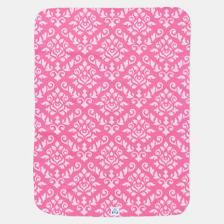 Damask Baroque Pattern Light on Dark Pink Baby Blanket