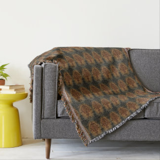 Damask Black and Rust Victorian Design Throw Blanket
