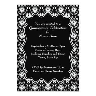 Damask Black and White Quinceanera 13 Cm X 18 Cm Invitation Card