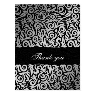damask black chic  Thank You cards Postcard