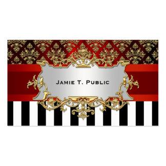 Damask, Black White Stripe, Red Ribbon, Gold Label Pack Of Standard Business Cards