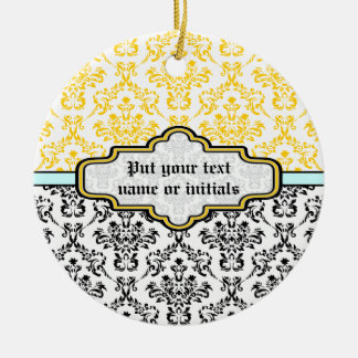 Damask black white yellow aqua ornament