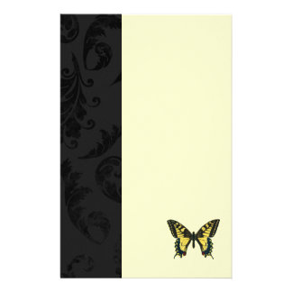 damask black yellow butterfly wedding stationery