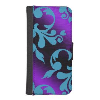 Damask/Colorful faux wood phone wallet case