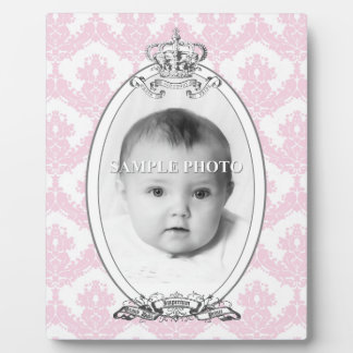 Damask Crown Customizable Photo Plaque 8x10