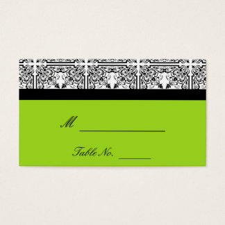 Damask Delight in Lime Green Wedding Place Cards