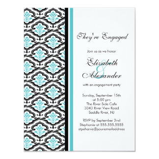 Damask Engagement Party Invitation turquoise blue