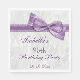 Damask & Faux Bow Girls 95th Birthday Paper Napkin