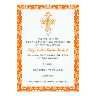 Damask First Holy Communion Baptism Confirmation Card