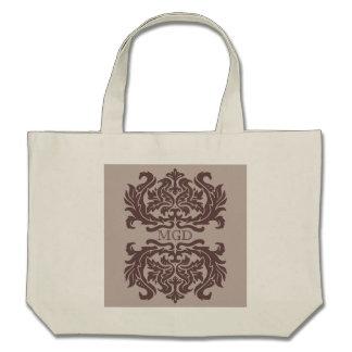 Damask floral pattern Art nouveau monogram bag