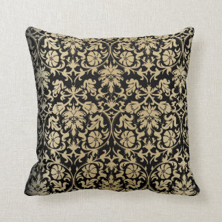 Damask Floral Pattern in Champagne & Black Cushion