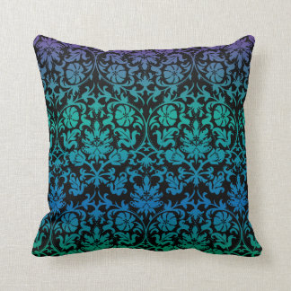 Damask Floral Pattern in Teal, Blue & Purple Cushion