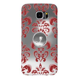 DAMASK GEM MONOGRAM red white Samsung Galaxy S6 Cases