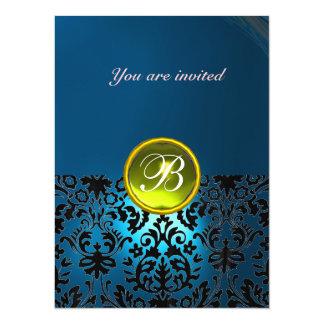 DAMASK GEM STONE MONOGRAM blue yellow rsvp Invites