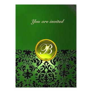 DAMASK GEM STONE MONOGRAM green yellow 14 Cm X 19 Cm Invitation Card