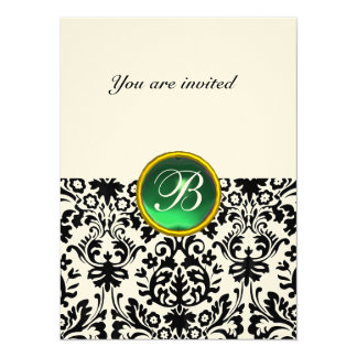 DAMASK GEM STONE MONOGRAM jade green speckled 14 Cm X 19 Cm Invitation Card
