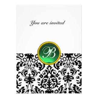 DAMASK GEM STONE MONOGRAM jade green white Custom Invitation