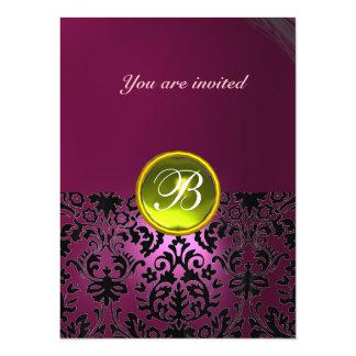 DAMASK GEM STONE MONOGRAM pink yellow 14 Cm X 19 Cm Invitation Card