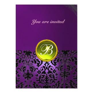 DAMASK GEM STONE MONOGRAM purple yellow 14 Cm X 19 Cm Invitation Card