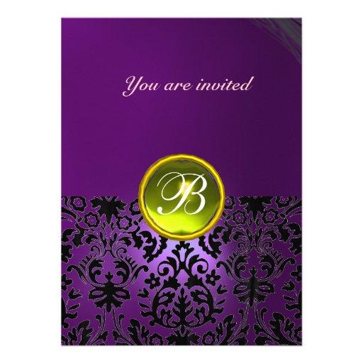 DAMASK GEM STONE MONOGRAM purple yellow Custom Invite
