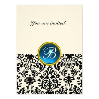 DAMASK GEM STONE MONOGRAM sapphire blue felt 14 Cm X 19 Cm Invitation Card
