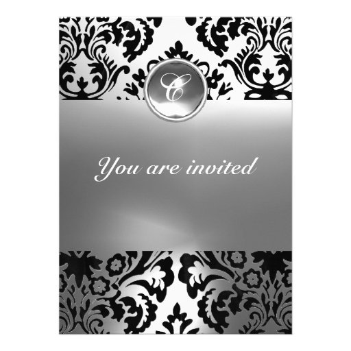 DAMASK GEM STONE MONOGRAM white Invites