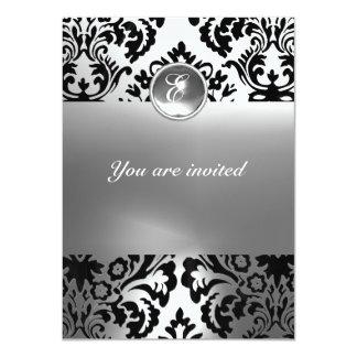 DAMASK GEM STONE MONOGRAM white Custom Invite