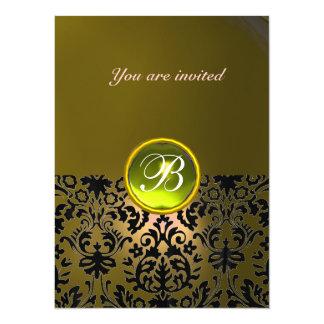 DAMASK GEM STONE MONOGRAM  yellow 14 Cm X 19 Cm Invitation Card