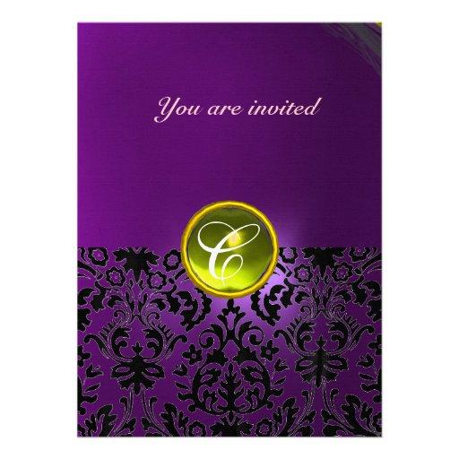 DAMASK GEM STONE MONOGRAM  yellow purple Custom Invite