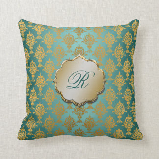 Damask Gold on Teal Throw Cushions