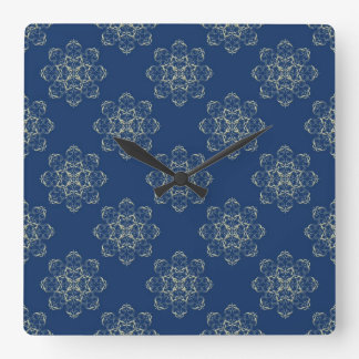 Damask Golden Flowers on Blue Square Clock