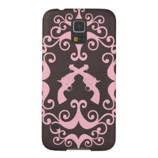 Damask guns grunge western pink goth pattern galaxy s5 cover