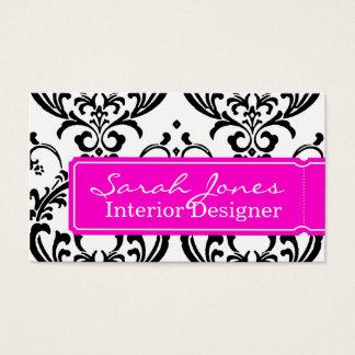 Damask Interior Design Business Card Hot Pink
