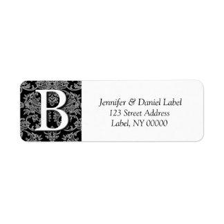 Damask Invitaiton Monogram Envelope Labels