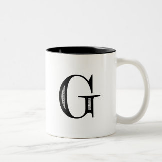 Damask Letter G - Black Two-Tone Coffee Mug