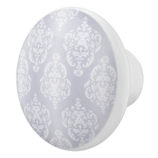 Damask Light Blue Ceramic Knob