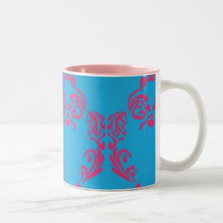 Damask Magenta-Aqua Two-Tone Coffee Mug