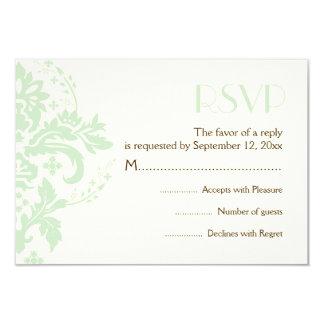 Damask mint green, ivory wedding RSVP reply card 9 Cm X 13 Cm Invitation Card