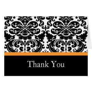 Damask Orange Thank You Note Card