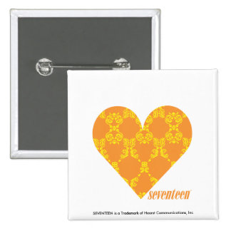 Damask Orange-Yellow 2 15 Cm Square Badge