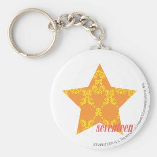 Damask Orange-Yellow 3 Basic Round Button Key Ring