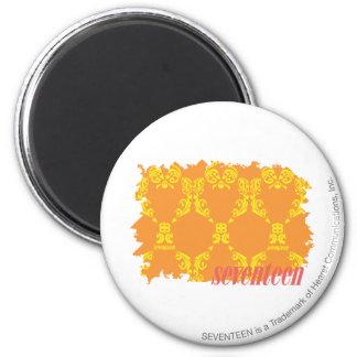 Damask Orange-Yellow 4 6 Cm Round Magnet