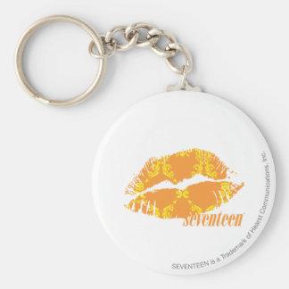 Damask Orange-Yellow Basic Round Button Key Ring