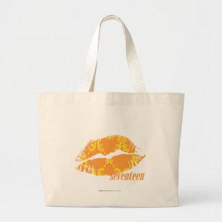 Damask Orange-Yellow Large Tote Bag