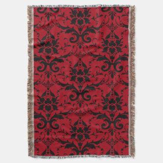 Damask Ornate Red and Black Design Throw Blanket