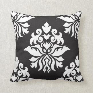 Damask Ornate Repeat Pattern - white on black Cushion