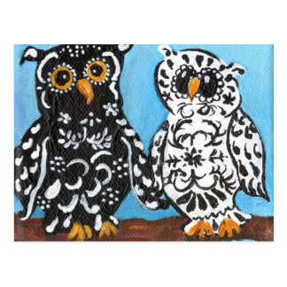 Damask Owls on Blue Postcard