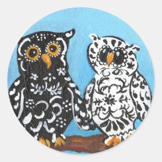 Damask Owls on Blue Round Sticker