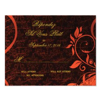 "Damask Parisienne - Fiery Punk Rock RSVP 4.25"" X 5.5"" Invitation Card"